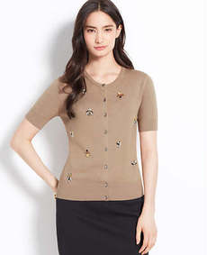 Petite Embellished Short Sleeve Ann Cardigan