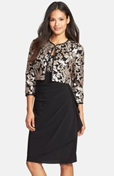 Alex Evenings Embellished Lace Jersey Dress & Jacket (Petite)