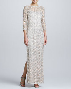 Kay Unger New York Sequin & Lace Metallic V-Back Gown