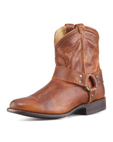 Frye Wyatt Short Leather Harness Boot, Cognac