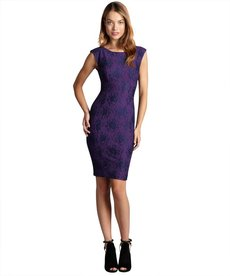 French Connection blueblood and amethyst 'Luxury Lace' stretch knit dress
