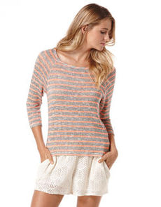 stripe loose knit raglan top