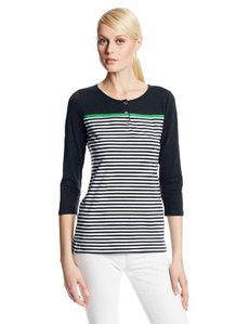 Jones New York Women's Three-Quarter Sleeve Henley Top with Grosgrain