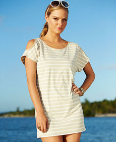 MICHAEL Michael Kors Short-Sleeve Striped Cutout Cover Up