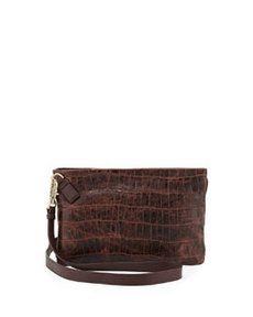 Foley + Corinna Cache Croc-Embossed Crossbody Bag, Brownie