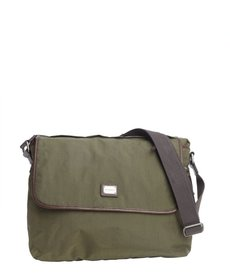 Dolce & Gabbana green leather trim nylon messenger bag