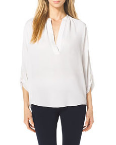 Slit-Front Silk Blouse   Slit-Front Silk Blouse