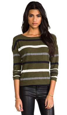 Michael Stars Dropped Shoulder Boatneck Tee in Green