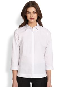 Saks Fifth Avenue Collection Poplin Cutaway Shirt