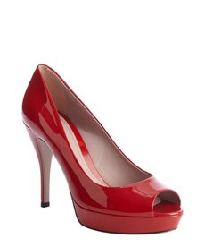 Gucci red patent leather peep toe pumps