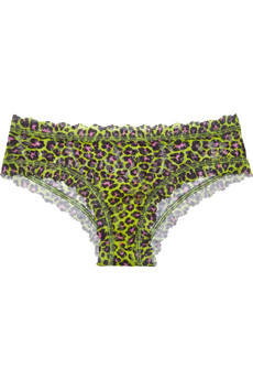 Hanky Panky Wild Cat mid-rise animal-print stretch-lace briefs