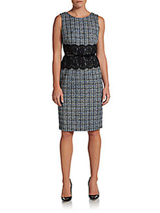 David Meister Lace-Waistband Tweed Dress