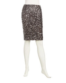 Lafayette 148 New York Stratosphere Sequined Slim Skirt, Silver