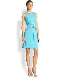 Michael Kors Belted Waist-Pleat Dress