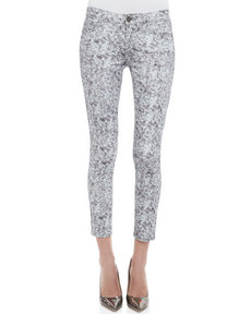 Paige Denim Verdugo Pewter Sequined Skinny Jeans