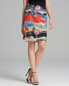 MILLY Skirt - Tropical Print Mesh Pencil