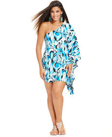 MICHAEL Michael Kors Plus Size One-Shoulder Printed Cover Up