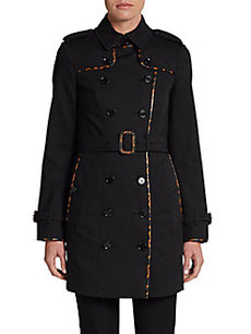 Burberry London Animal-Print Trimmed Stretch Cotton Trench