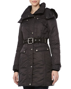 Andrew Marc Passion Weather System Belted Coat, Black