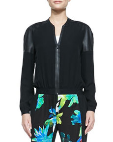 Sandie Silk Bomber Jacket, Black   Sandie Silk Bomber Jacket, Black