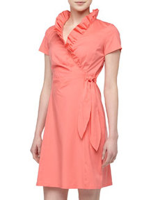 Lafayette 148 New York Short-Sleeve Ruffled Tie-Waist Wrap Dress, Dragonfruit