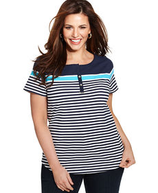 Charter Club Plus Size Short-Sleeve Striped Henley Top