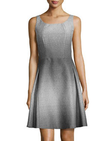 Lafayette 148 New York Sleeveless Fit-and-Flare Broadcloth Dress, Black Multi