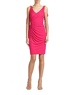 David Meister Ruched Back-Drape Dress