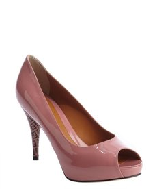 Fendi pink patent leather zucca printed heel peep toe pumps
