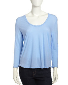 James Perse Over-Dyed Twist-Neck Tee, Lavender