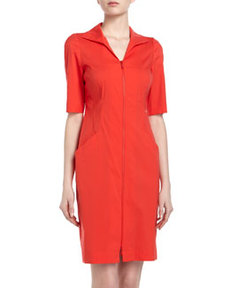 Lafayette 148 New York Short-Sleeve Straight Stretch Dress, Rosehip