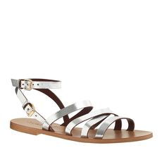 Maren metallic leather cross-strap sandals