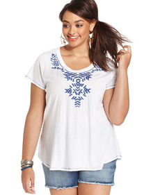 Lucky Brand Plus Size Embroidered Tee