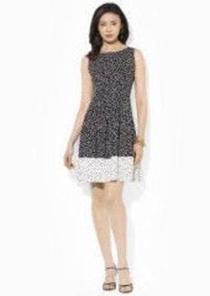 Dot-Print Pleated Dress