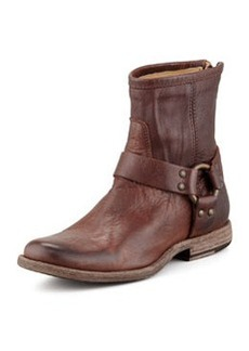 Frye Phillip Short Harness Boot, Dark Brown