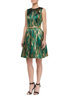 Michael Kors Metallic Ikat Jacquard Fit-And-Flare Dress, Emerald/Gold