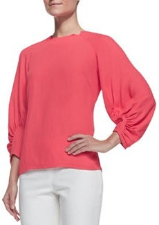 Lela Rose Full-Sleeve Blouse, Watermelon
