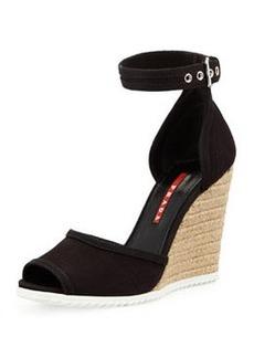 Gabardine Rope Wedge Sandal, Nero   Gabardine Rope Wedge Sandal, Nero