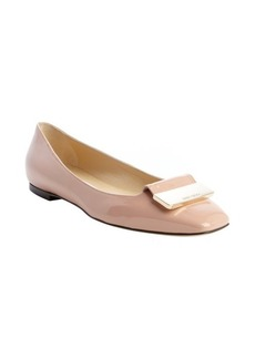 Jimmy Choo blush patent leather buckle detail 'Harlow' flats