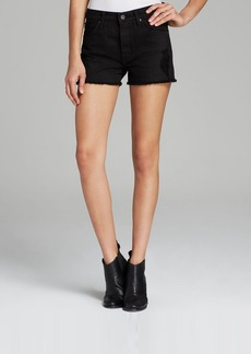 James Jeans Shorts - Hunny High Rise Slightly Slouchy in Black Opaque