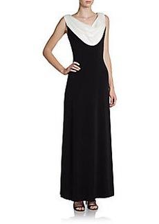 Calvin Klein Sequin-Cowlneck Jersey Gown