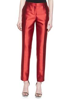 Michael Kors Samantha Slim Shantung Pants, Coral