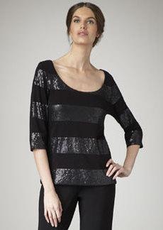 Joan Vass Striped Sequin Top