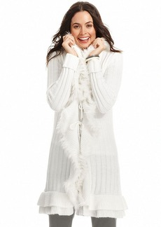 Alfani Petite Long-Sleeve Faux-Fur Ruffled Cardigan