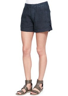Vince Cuffed Linen Shorts, Forge