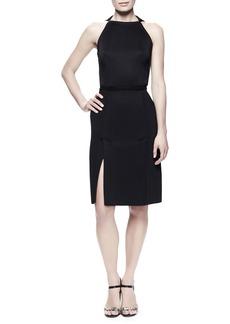 Lanvin Kick-Pleat Sheath Dress, Black