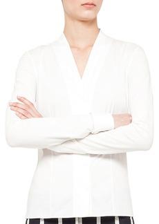 Akris punto V-neck blouse, cotton-stretc