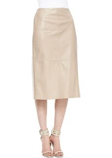 Lafayette 148 New York Over-the-Knee Leather-Front Skirt, Pumice/White