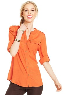 Charter Club Petite Crepe Button-Front Shirt