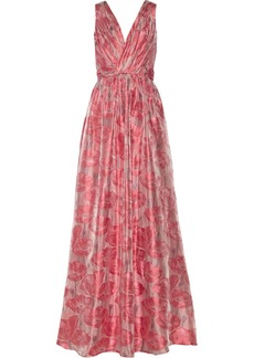 Badgley Mischka Floral-patterned fil coupé gown